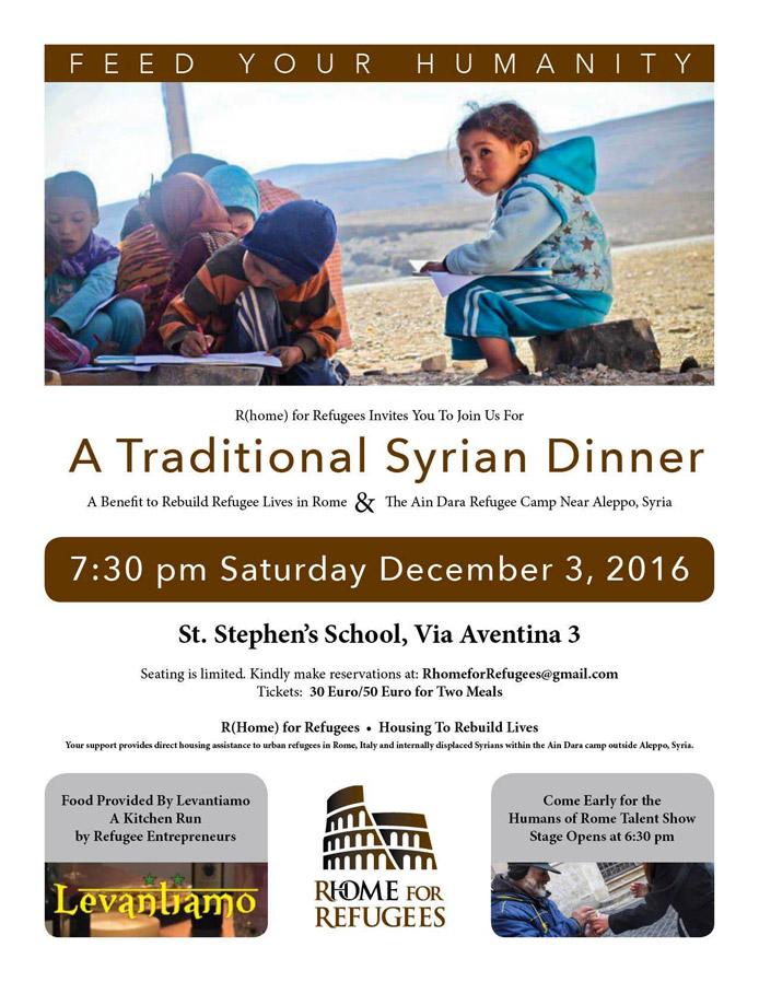 serata di beneficenza cena siriana