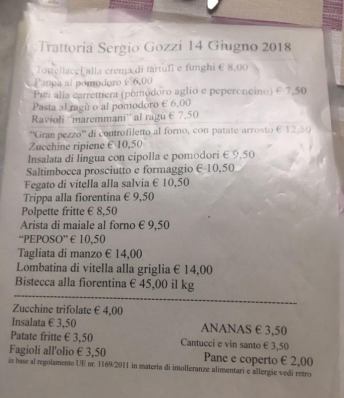 trattoria sergio gozzi menu